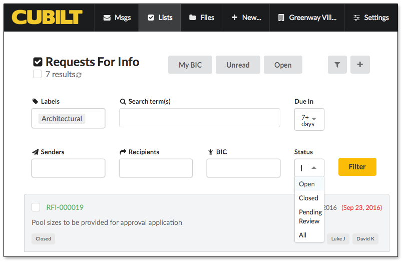 Filtering and Managing RFI Lists